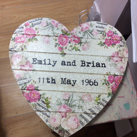 Personalised Hanging Heart £50 - Pink Music