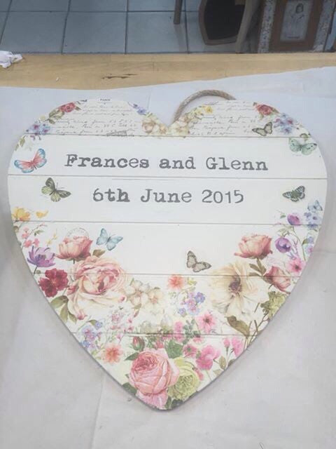 Personalised Hanging Heart £50 - Wild Flower 2 - Doris and Jeannie