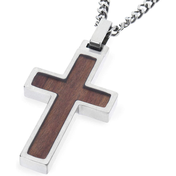 Unique GESTALT Titanium Cross Necklace with KOA Wood  Inlay. Solid 26inch lightweight Titanium Grade T2 Curb Chain (3.8mm wide).