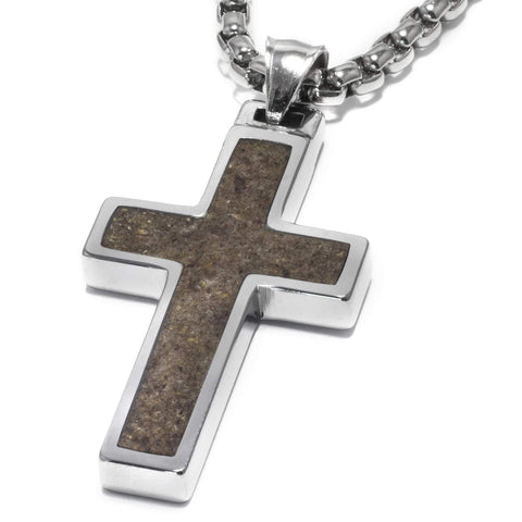 Unique Tungsten Cross Pendant with Antler Inlay. 4mm wide Surgical Stainless Steel Box Chain.