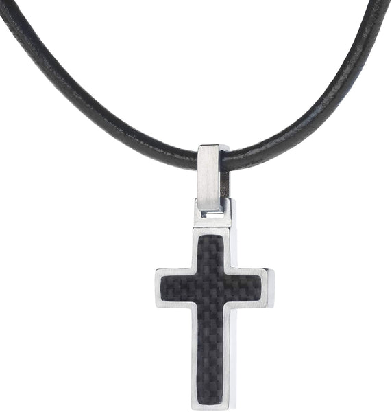Unique GESTALT Midsize Titanium Cross Necklace with Black Carbon Fiber Inlay. 22inch Black Leather Cord.
