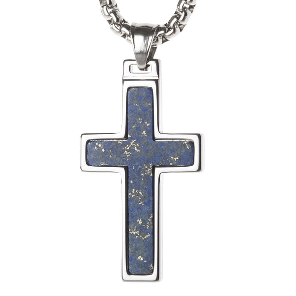 Unique Tungsten Cross Pendant with Lapis Lazuli Inlay. 4mm wide Surgical Stainless Steel Box Chain.