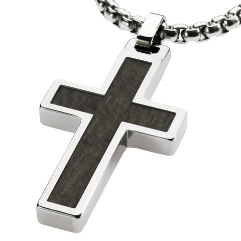 Unique Tungsten Cross Pendant .4mm wide Surgical Stainless Steel Box Chain. Grey Wood Inlay.