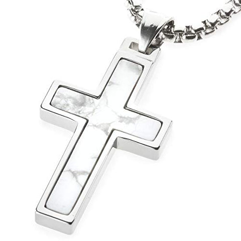 Unique Tungsten Cross Pendant with Howlite Stone Inlay. 4mm wide Surgical Stainless Steel Box Chain.