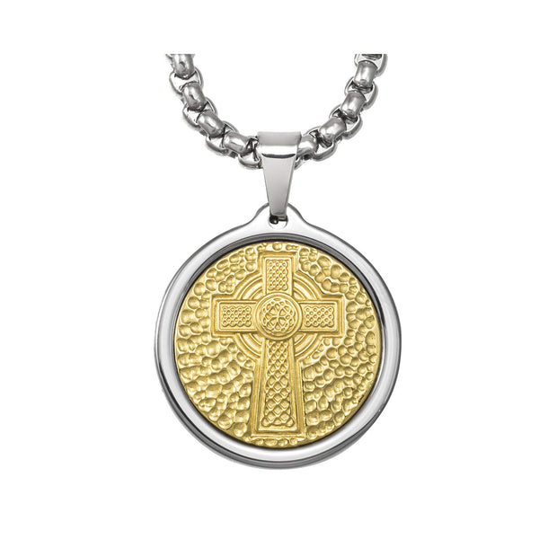 Unique Midsize Tungsten Medallion Necklace. Stainless Steel Celtic Cross Inlay with 18kt Gold Plating.