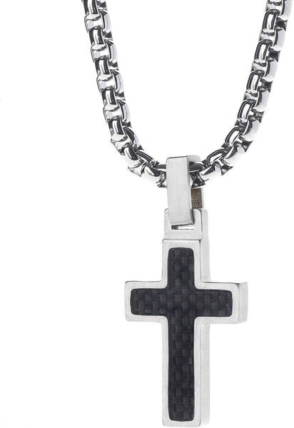 Unique GESTALT Midsize Titanium Cross Necklace with Black Carbon Fiber Inlay. 4mm wide Surgical Stainless Steel Box Chain.