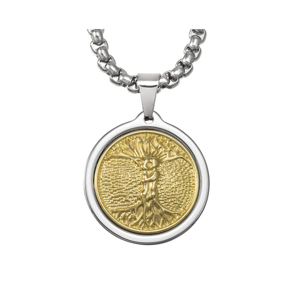Unique Midsize Tungsten Medallion Necklace. Stainless Steel Tree of Life Inlay with 18kt Gold Plating.