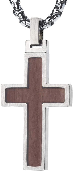 Unique GESTALT Titanium Cross Necklace with KOA Wood Inlay. 4mm wide Surgical Stainless Steel Box Chain.