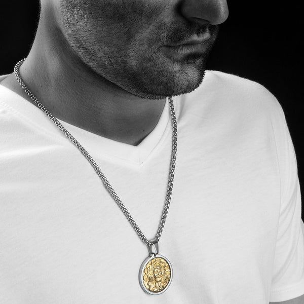 Unique Tungsten Medallion Necklace. Stainless Steel Jesus Christ Inlay with 18kt Gold Plating.