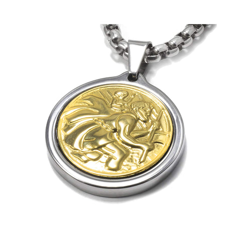 Unique Midsize Tungsten Medallion Necklace. Stainless Steel Saint Christopher Inlay with 18kt Gold Plating.