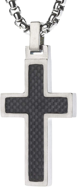 Unique GESTALT Titanium Cross Necklace with Black Carbon Fiber Inlay. 4mm wide Surgical Stainless Steel Box Chain.