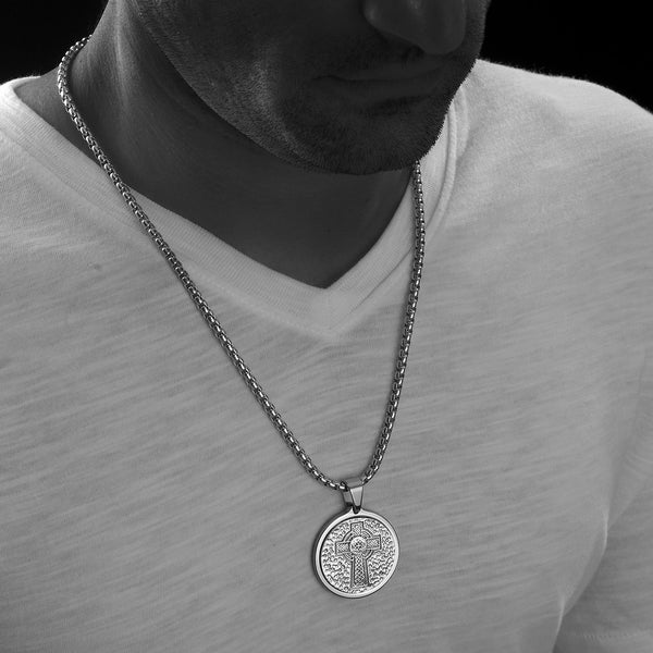 Unique Tungsten Medallion Necklace. Platinum Style Stainless Steel Celtic Cross Inlay.
