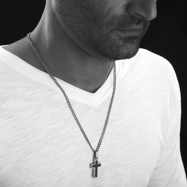 Unique GESTALT Midsize Titanium Cross Necklace with Black Carbon Fiber Inlay.  Solid 26inch lightweight Titanium Grade T2 Curb Chain (3.8mm wide).