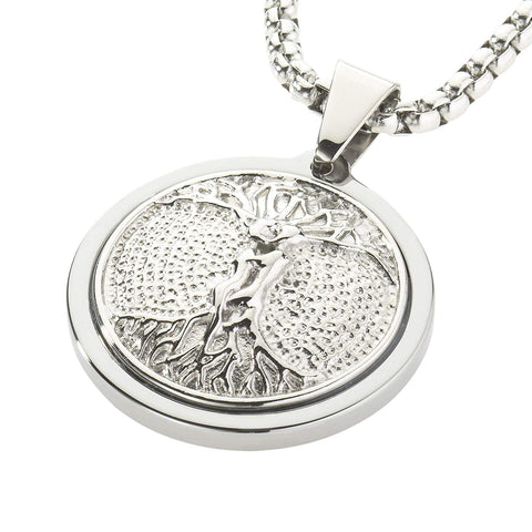 Unique Tungsten Medallion Necklace. Platinum Style Stainless Steel Tree of Life Inlay.