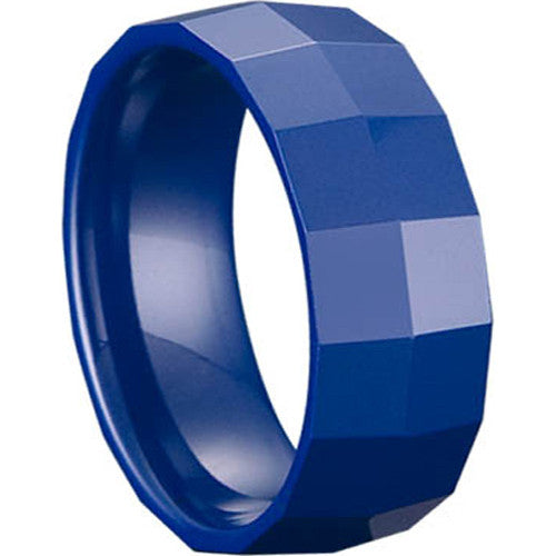 GESTALT® Blue Ceramic Ring - 8mm width. Square Faceted Design.