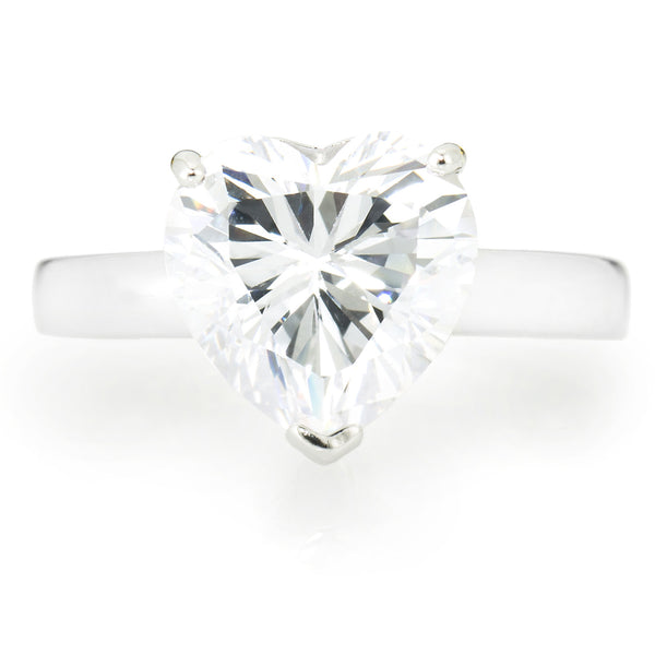 Heart Shape Solitaire Ring with 3.16 carat Brillianite. 925 Sterling Silver. Comfort Fit.
