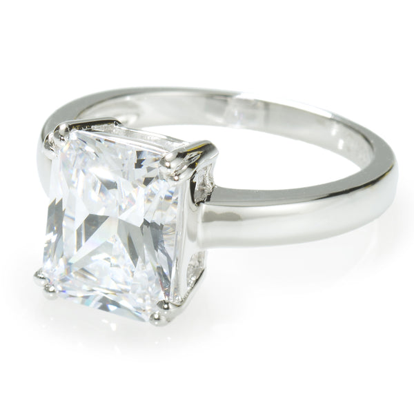 Emerald Cut Solitaire Ring with 3.79 carat Brillianite. 925 Sterling Silver. Comfort Fit.