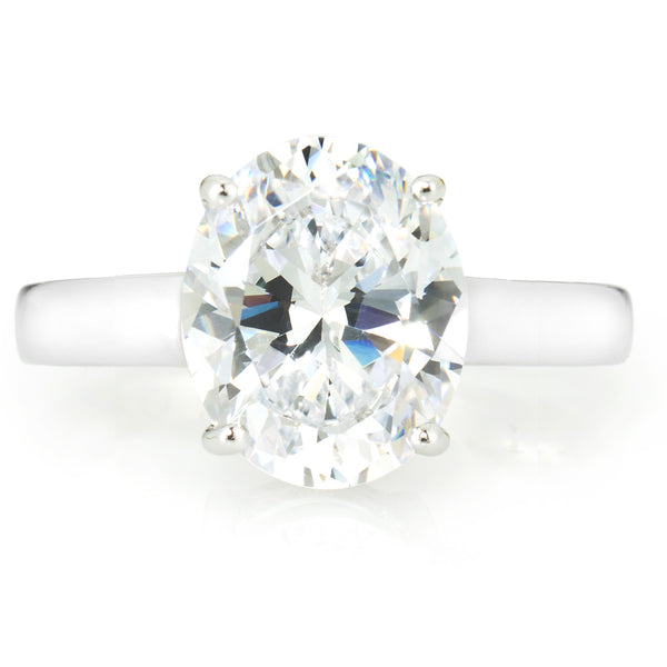 Oval Shape Solitaire Ring with 3.85 carat Brillianite. 925 Sterling Silver. Comfort Fit.
