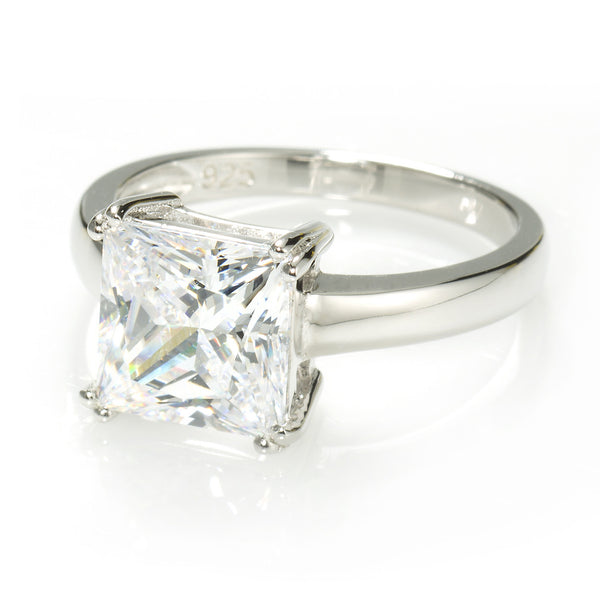 Princess Cut Solitaire Ring with 3.67 carat Brillianite. 925 Sterling Silver. Comfort Fit.