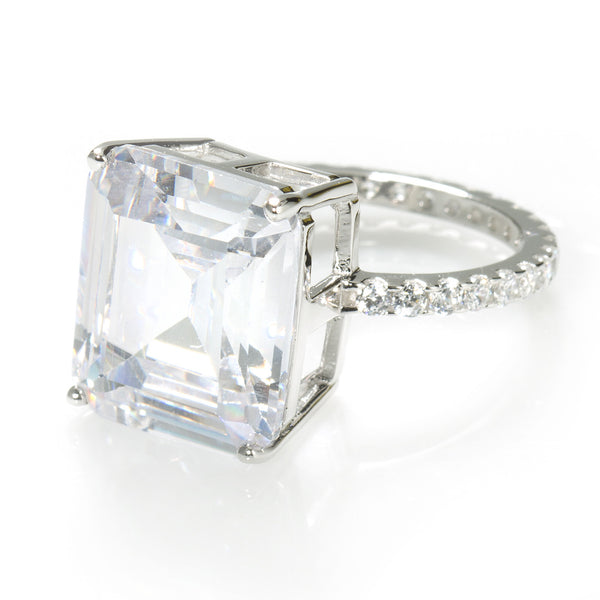 Magnificent Cocktail Ring. Large Emerald Cut 11.26 carat Brillianite with accent Brillianites.