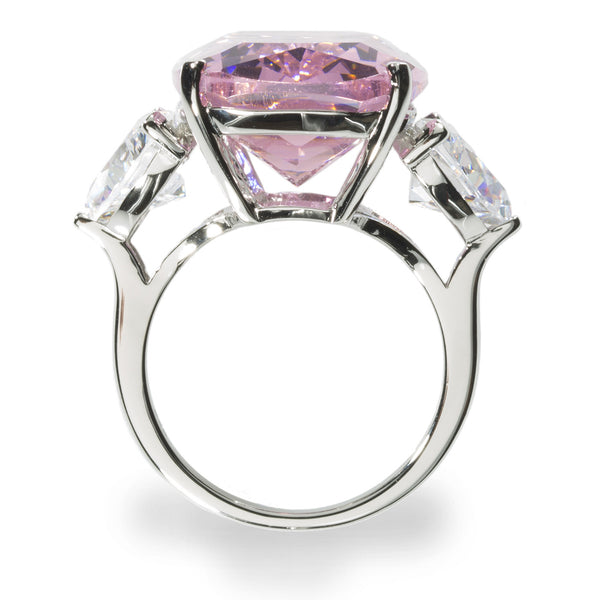 Magnificent Cocktail Ring. 28.14ct. Pink Center Brillianite. Two 1.75ct. Brillianite accent stones.