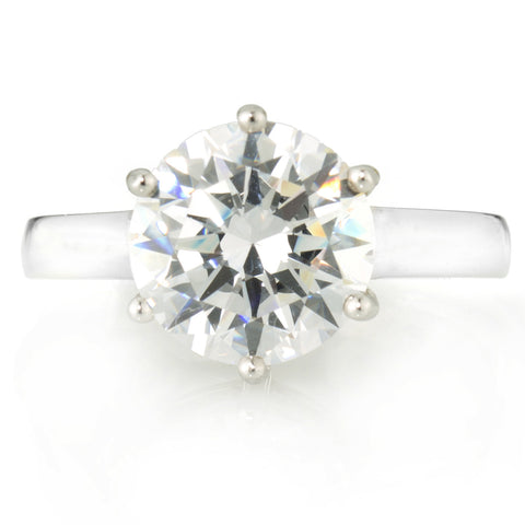 Round Solitaire Ring with 3.87 carat Brillianite. 925 Sterling Silver. Comfort Fit.