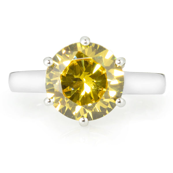 Fancy Yellow Solitaire Ring with 3.87 carat Brillianite. 925 Sterling Silver. Comfort Fit.