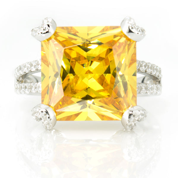 Magnificent Cocktail Ring. Fancy Yellow Center 12.86ct Brillianite. 69 accent Brillianites.