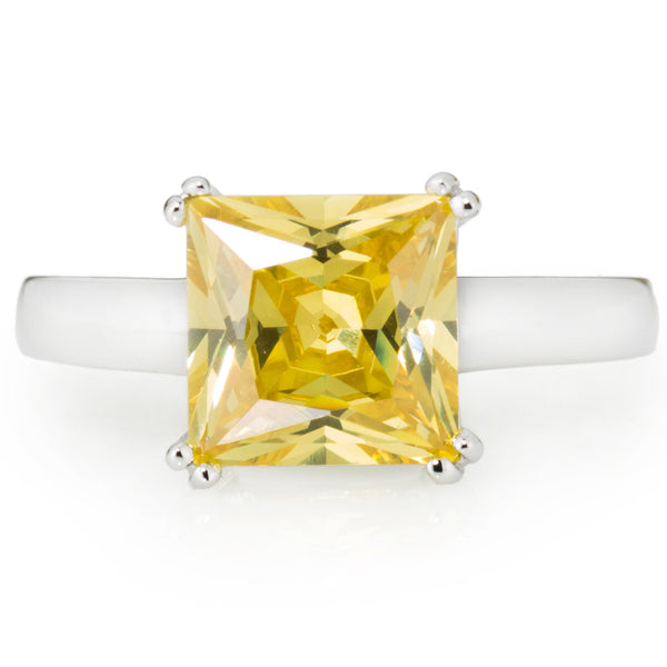 Yellow Princess Cut Solitaire Ring with 3.67 carat Brillianite. 925 Sterling Silver. Comfort Fit.