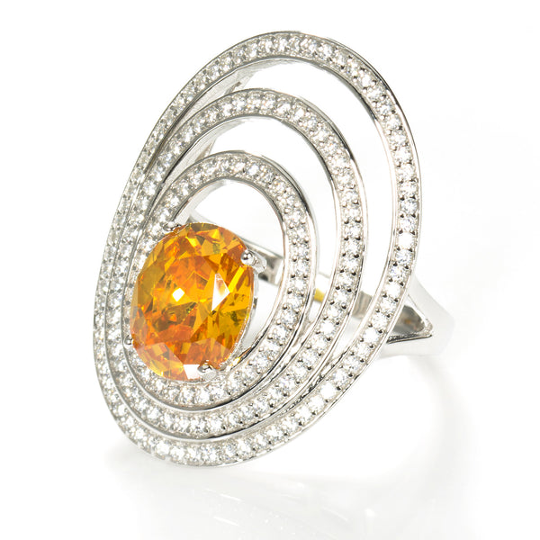 Masterpiece Cocktail Ring. Solitaire 2.54 carat yellow Brillianite with 100 accent stones.