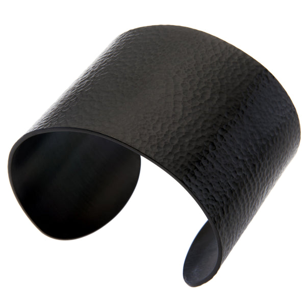 Gestalt® Black Hammered Cuff. 2'' Width. Made From Solid Platinum Style Surgical Stainless Steel.
