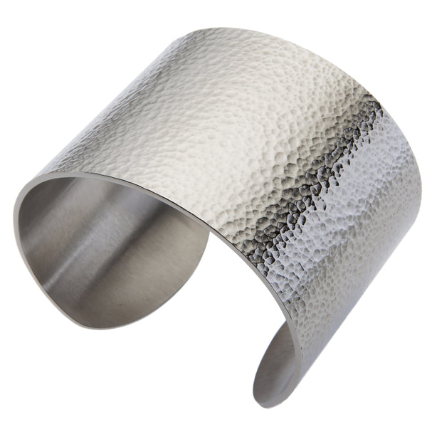 Gestalt® Hammered Cuff. 2'' Width. Made From Solid Platinum Style Surgical Stainless Steel.