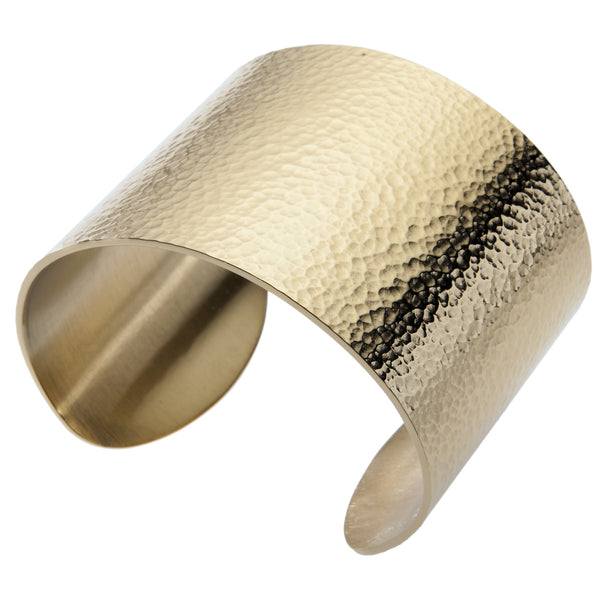Gestalt® Hammered Cuff. 2'' Width. 18kt. Gold Plated. Made From Solid Platinum Style Surgical Stainless Steel.