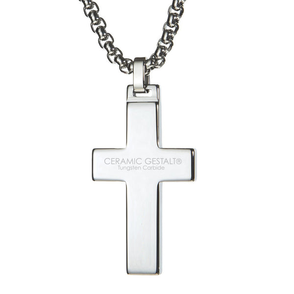 Unique Tungsten Cross Pendant. 4mm wide Surgical Stainless Steel Box Chain. White Carbon Fiber Inlay.