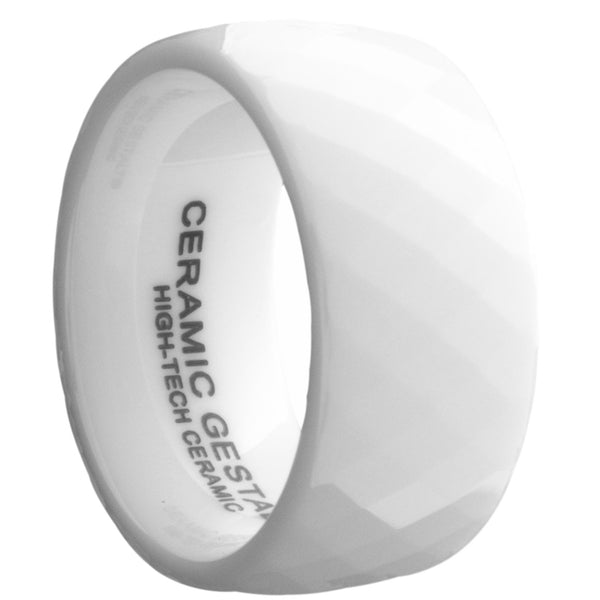 GESTALT® White Ceramic Ring - 10mm Width. Faceted Design. Comfort Fit.