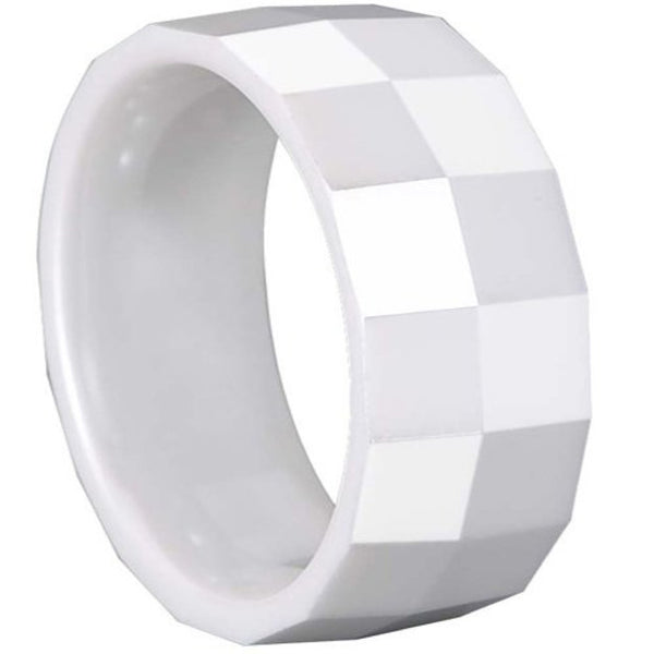 GESTALT® White Ceramic Ring - 10mm Width. Square Faceted Design. Comfort Fit.