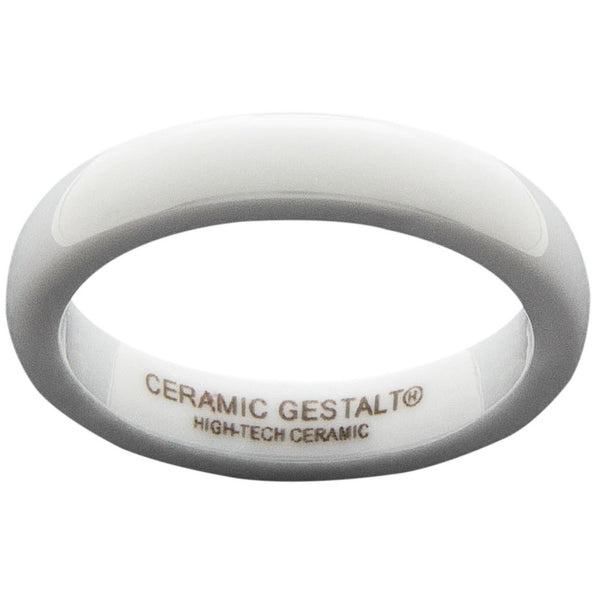 GESTALT® White Ceramic Ring - 4mm Width. Domed & Polished Design. Comfort Fit.