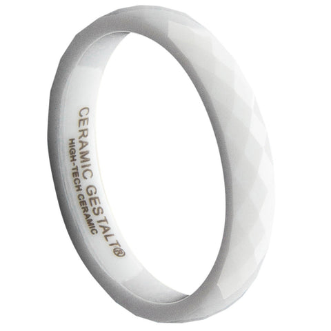 GESTALT® White Ceramic Ring - 4mm Width. Faceted Design. Comfort Fit.