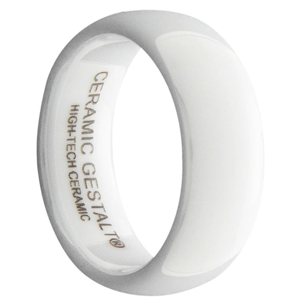 GESTALT® White Ceramic Ring - 8mm Width. Domed & Polished Design. Comfort Fit.