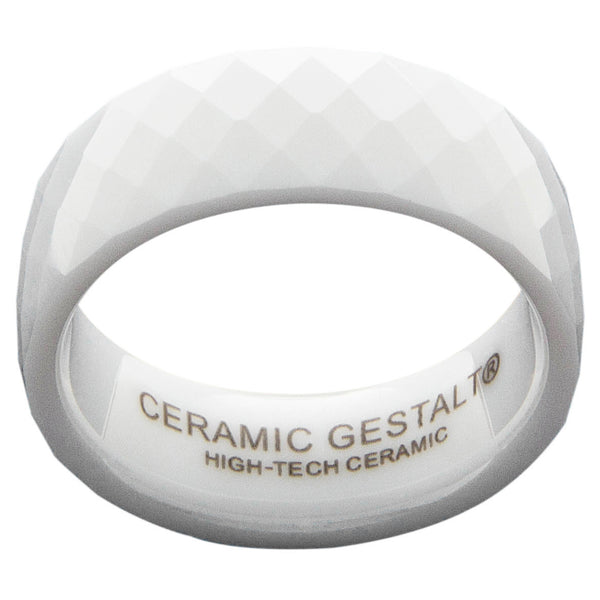 GESTALT® White Ceramic Ring - 8mm Width. Faceted Design. Comfort Fit.