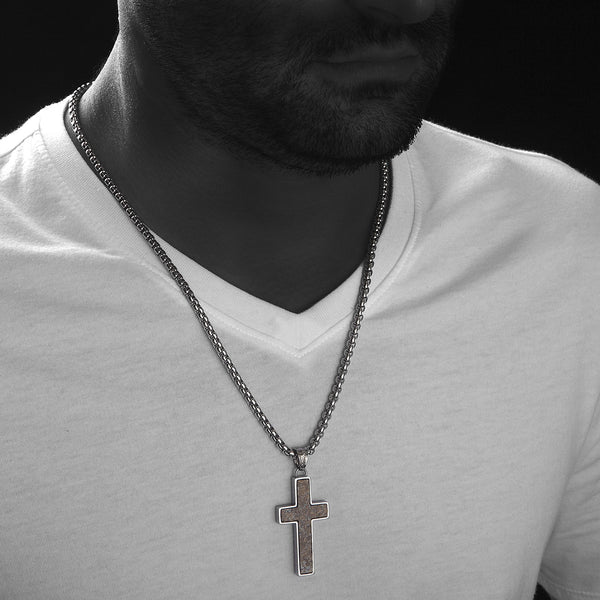 Unique Bronzite Cross Pendent by Wolf&Jens®. Platinum Style Surgical Stainless Steel.