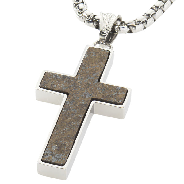Unique Bronzite Cross Pendent by Wolf&Jens¨. Platinum Style Surgical Stainless Steel.