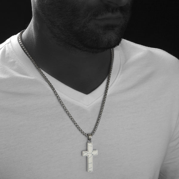 Unique Howlite Cross Pendent by Wolf&Jens®. Platinum Style Surgical Stainless Steel.