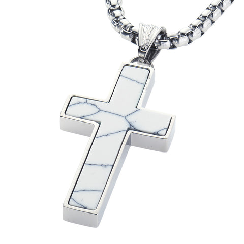 Unique Howlite Cross Pendent by Wolf&Jens¨. Platinum Style Surgical Stainless Steel.
