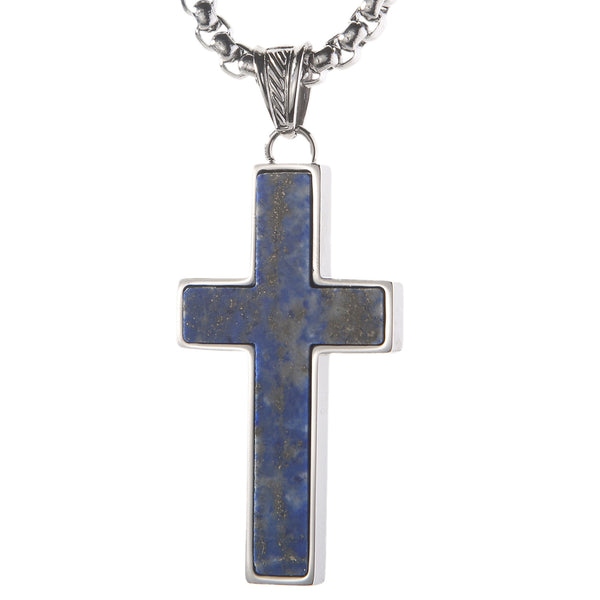 Unique Lapis Lazuli Cross Pendent by Wolf&Jen®. Platinum Style Surgical Stainless Steel.