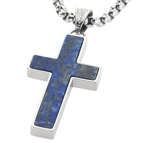 Unique Lapis Lazuli Cross Pendent by Wolf&Jens¨. Platinum Style Surgical Stainless Steel.
