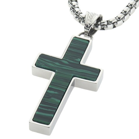 Unique Green Malachite Cross Pendent by Wolf&Jens¨. Platinum Style Surgical Stainless Steel.