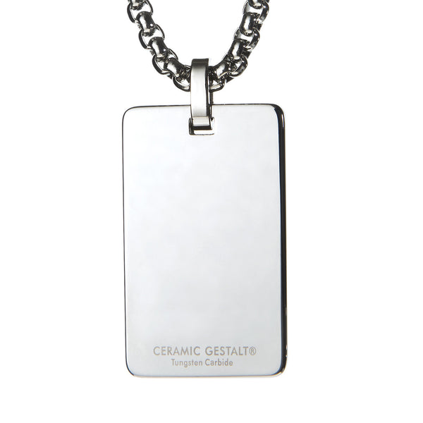 Unique Tungsten Tag Necklace. 4mm wide Surgical Steel Chain. White High-Tech Ceramic. Masonic Design.