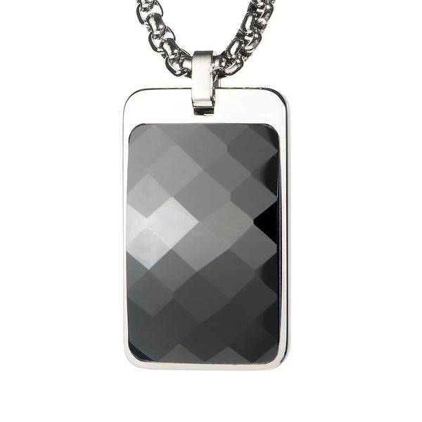 Most Unique Tungsten Tag Necklace. 4mm wide Surgical Steel Chain. Black Faceted High-Tech Ceramic.