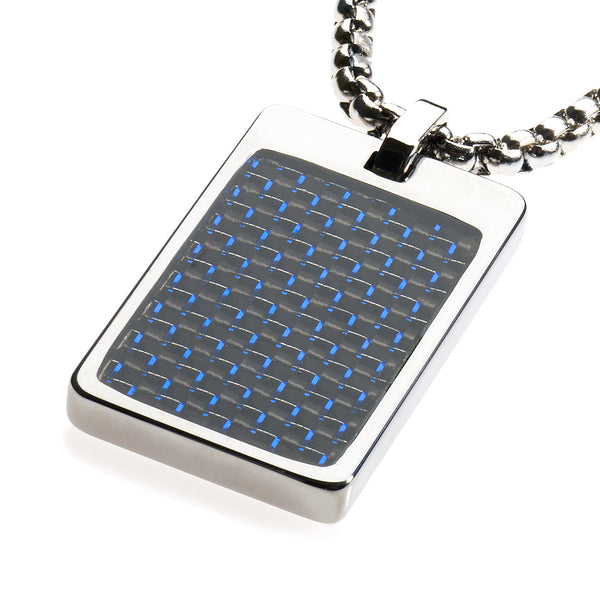 Unique Tungsten Tag Necklace. 4mm wide Surgical Stainless Steel Box Chain. Blue & Black Carbon Fiber.